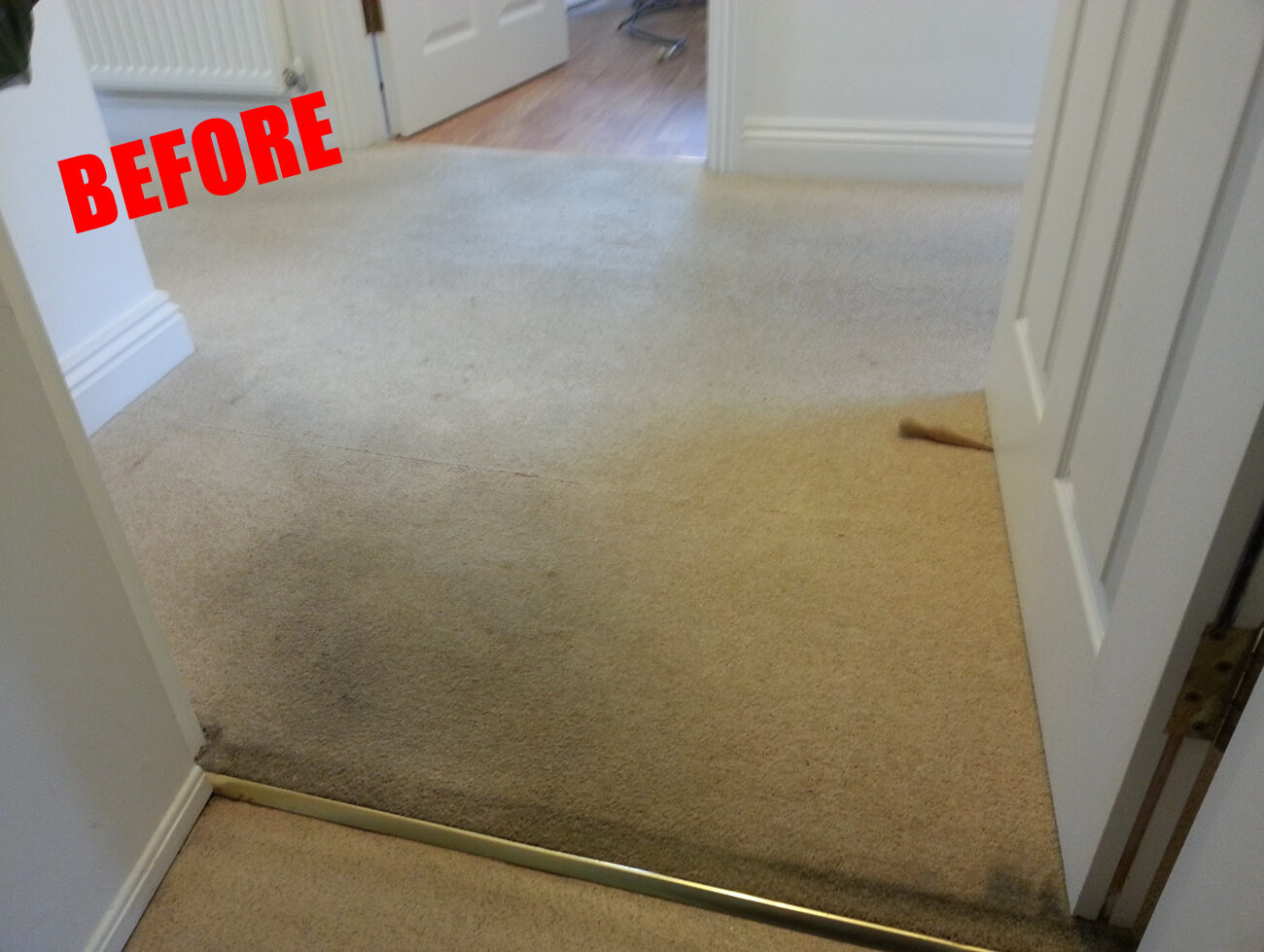 Cream domestic carpet cleaning before the clean in Dorset
