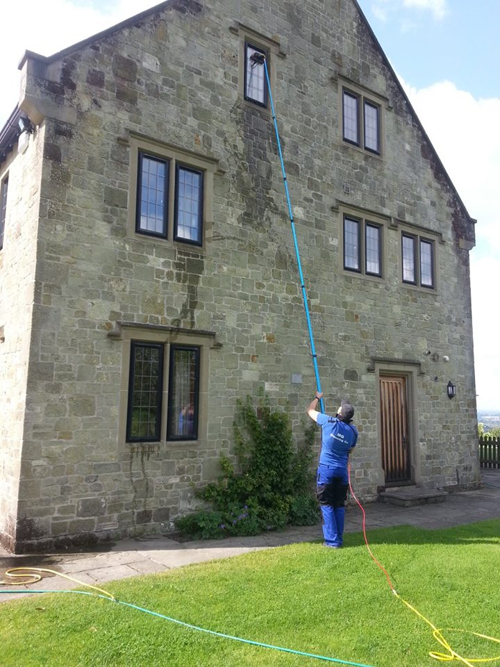 Telescopic water fed window cleaning 3 storey house