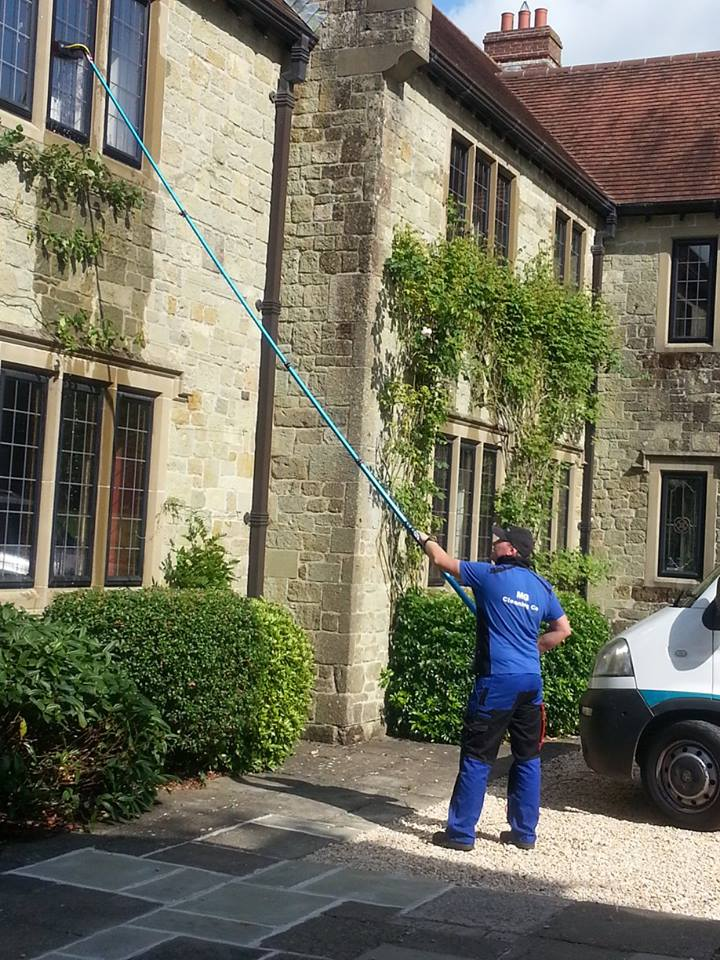 Window cleaning large country house in Dorset